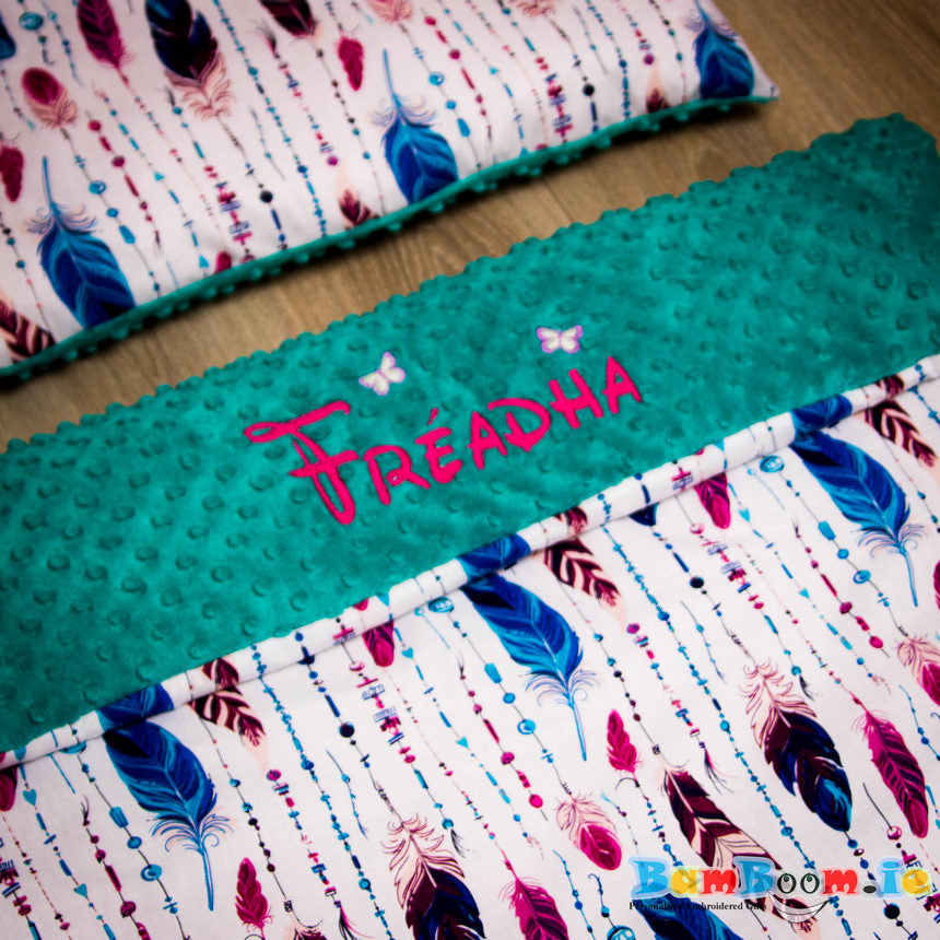 Personalised Baby Girl Blanket Featjer and Teal Colour
