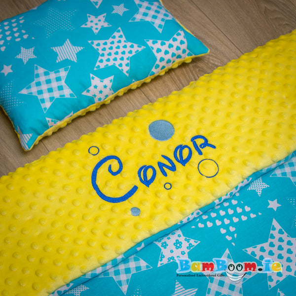 Personalised Baby Blanket Yellow&Blue - 3 sizes