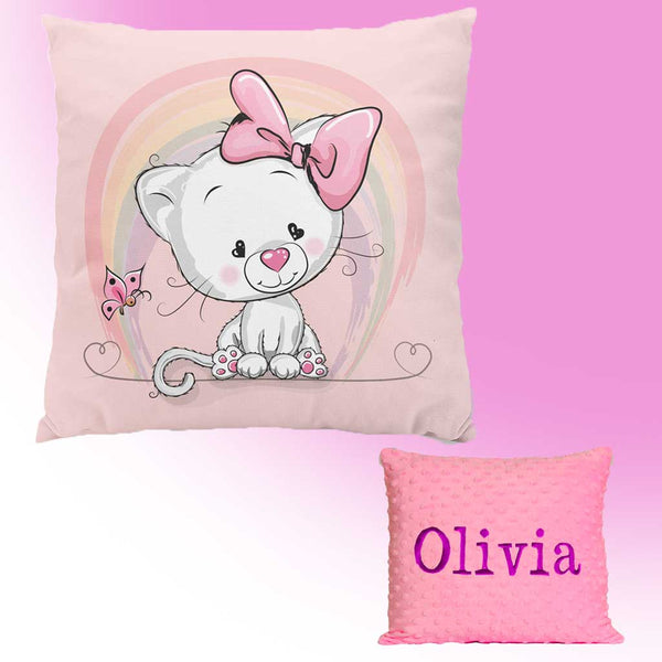 Personalised embroideried pillow with cat