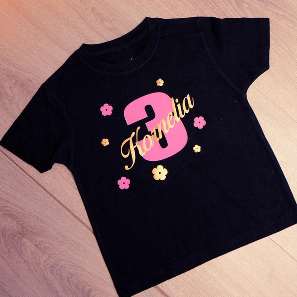 personalised t-shirt for a baby girl Birthday party