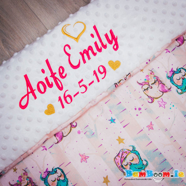 personalised pram blanket pink with owls