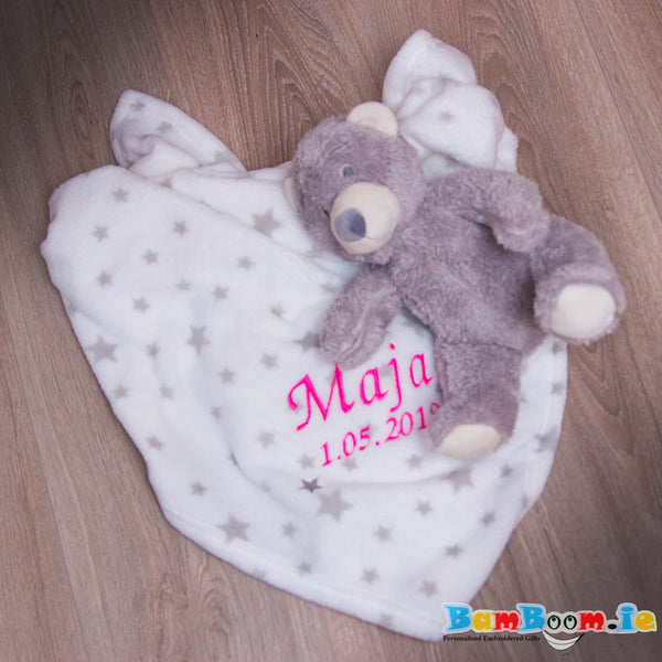 teddy bear with blanket and baby name
