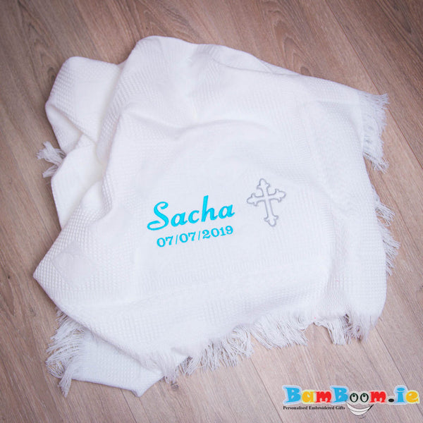 Personalised White Christening Blanket - BOY