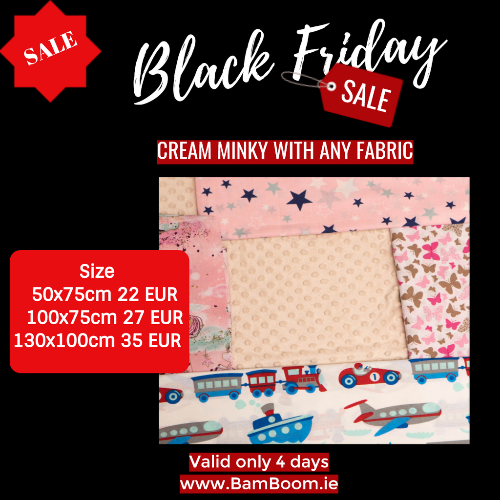 Blanket: ANY FABRIC WITH CREAM MINKY- BLACK FRIDAY SALE