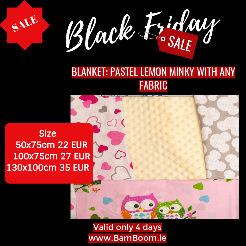 Blanket: ANY FABRIC WITH PASTEL LEMON MINKY- BLACK FRIDAY SALE