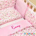 Personalised cot set for a baby girl