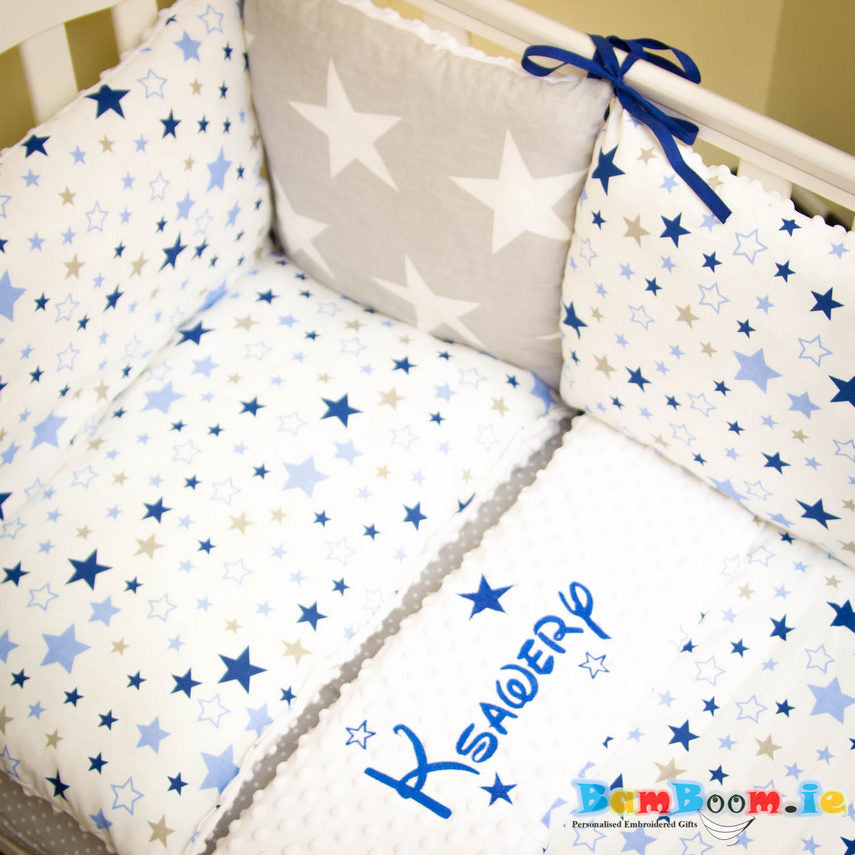 Personalised cot set for boy stars