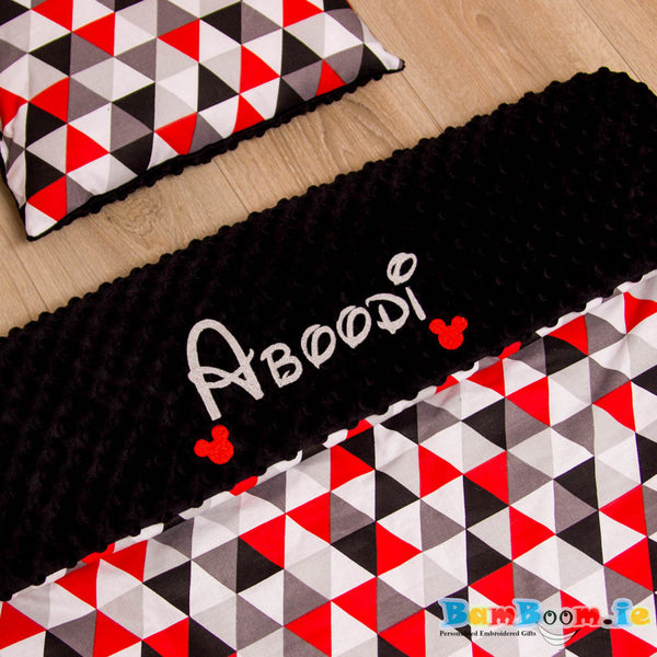 Red and black baby blanket