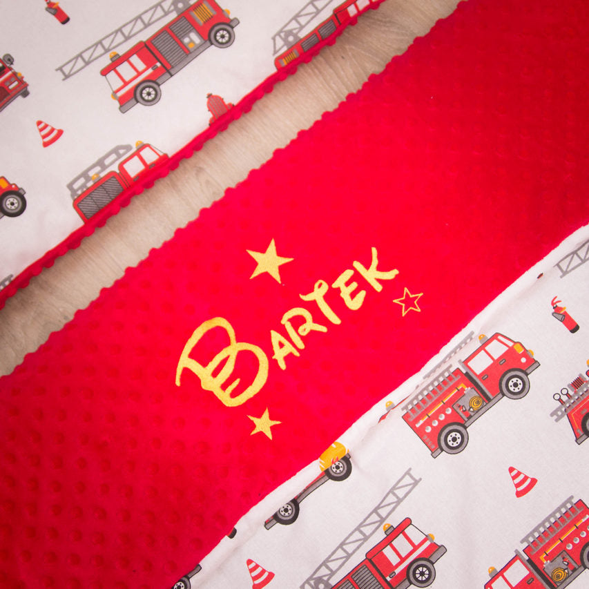 personalised blanket with fire enginees