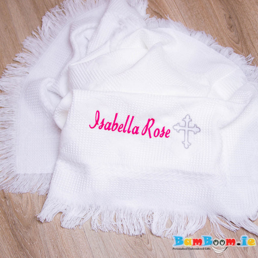 personalised christening blanket cross