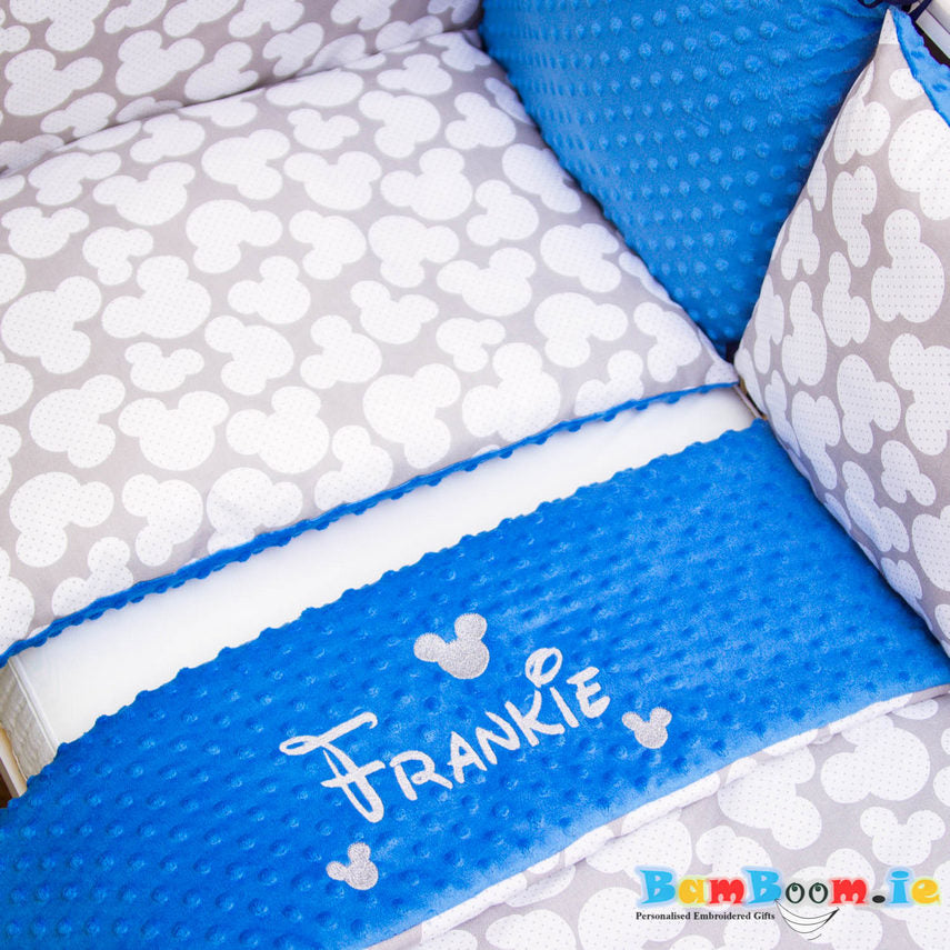 personalised cot set for boy blue