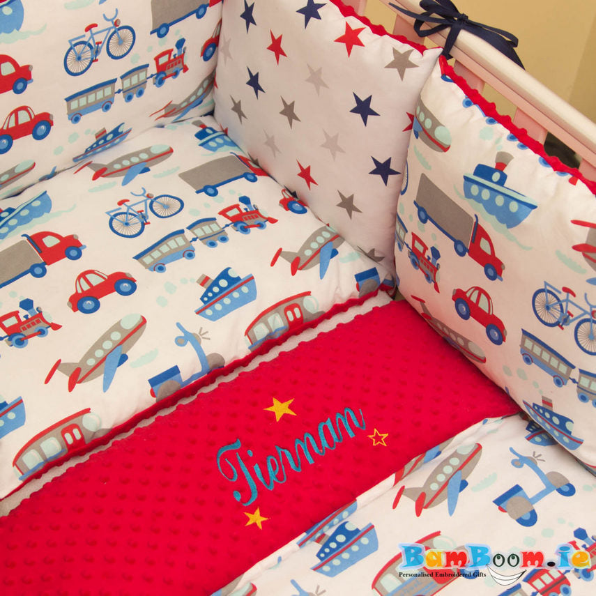 Cot set for boy with train, car, bike, boat