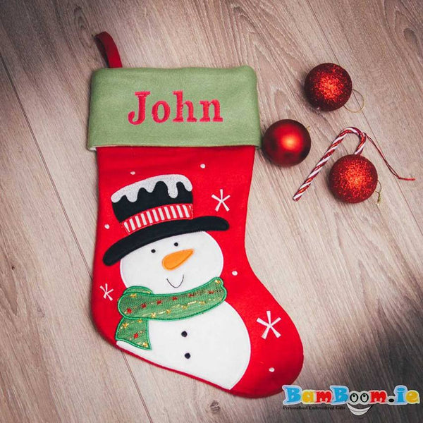Personalised stocking with snowman galway