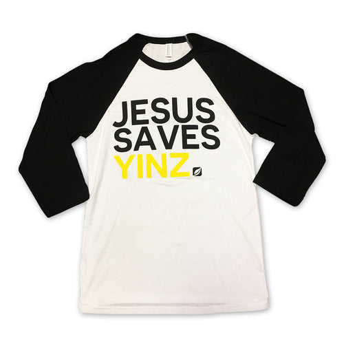 Mens Baseball Tee - Jesus Saves Yinz