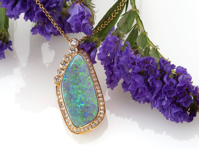 secrete jewelry custom opal necklace diamond rose gold bezel maryland dc bethesda