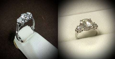 before and after custom vintage engagement ring rework diamond platinum art deco