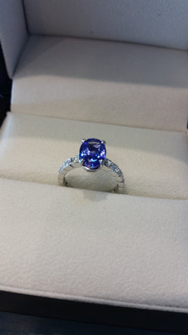 Custom Jewlery Bethesda Maryland Washington DC Dupont Circle Engagement Ring tanzanite secrete diamond