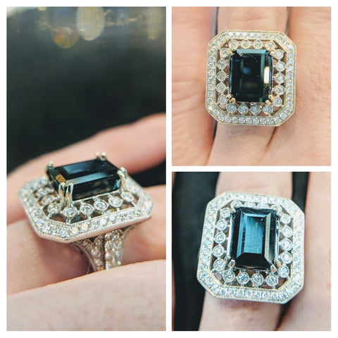 Custom Jewlery Washington DC Dupont Circle Engagement Ring tourmaline diamonds teal handmade in Bethesda