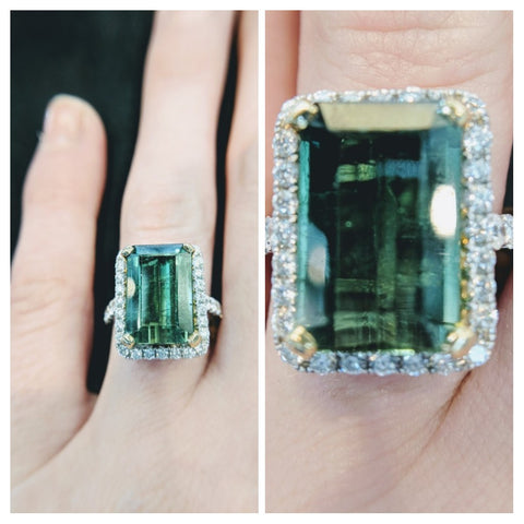 18k white gold green tourmaline emerald cut custom engagement washington dc secrete fine jewelry bethesda ethical engagement