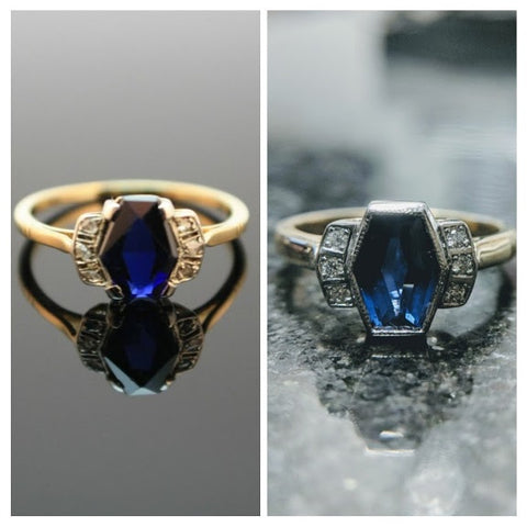 inspiration and recreation, before and after hexagon art deco engagement ring custom shape gemstone secrete jewelry washington dc best engagement