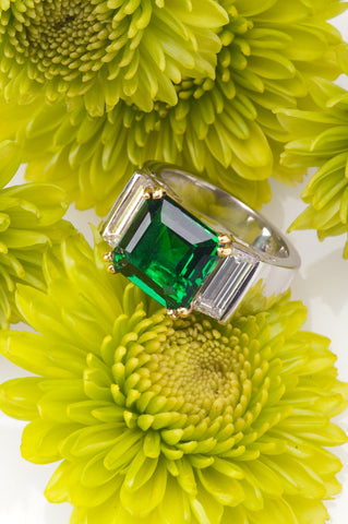 flawless emerald and baguette engagement ring secrete fine jewelry