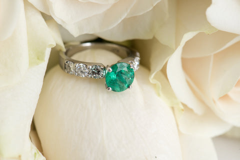emerald and diamond engagement ring secrete fine jewelry custom design washington dc