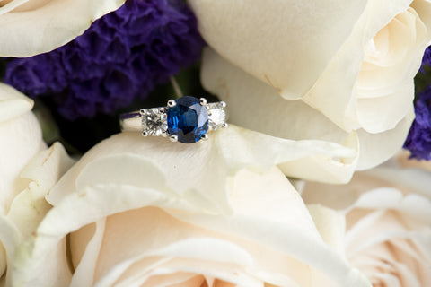 sapphire and diamond three stone engagement ring