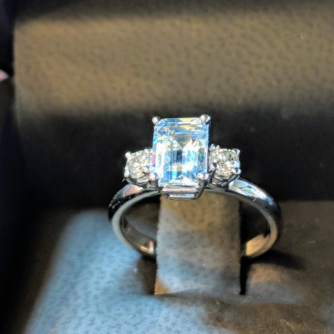 aquamarine engagement ring custom emerald cut dc bride bethesda maryland