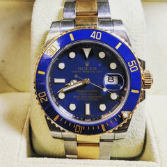 rolex submariner two tone blue best preowned pre-owned used certified guaranteed rolex washington dc secrete fine jewelry dupont circle