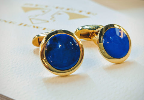 Gold and lapis cuff links handmade custom jewelry secrete washington dc bethesda