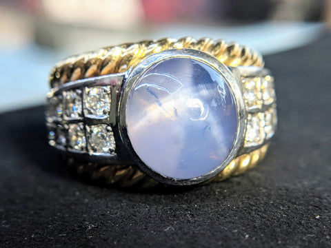 signature mens ring white gold rose gold braided star sapphire diamonds washington dc handmade