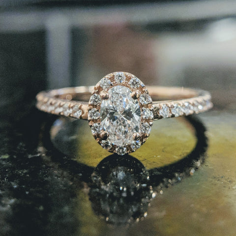 dainty halo rose gold oval cut engagment ring best custom rings washington dc secrete fine jewelry