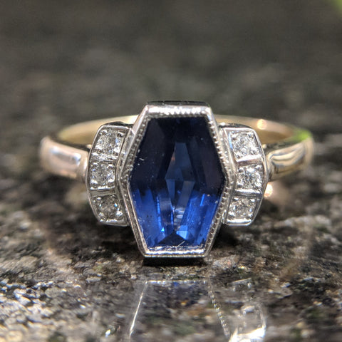 art deco hexagon sapphire engagement ring remake secrete fine jewelry custom gemstone rings washington dc best bethesda
