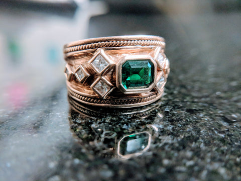 18k rose gold emerald diamond mens byzantine ring custom secrete jewelry washington dc