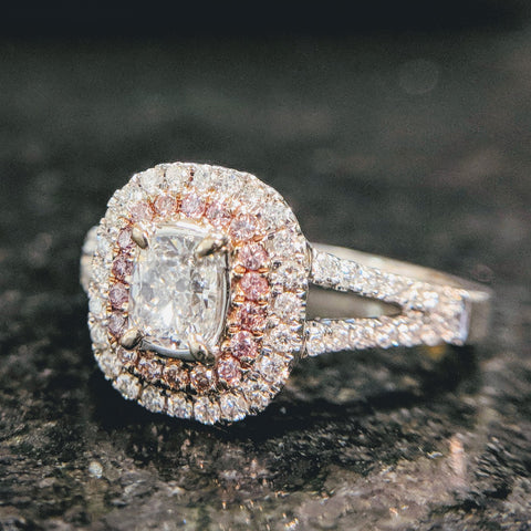 pink diamond halo double-halo cushion brilliant engagement ring 18k white and rose gold split shank secrete fine jewelry best engagement washington dc