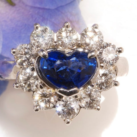 heart shaped halo sapphire ring engagement