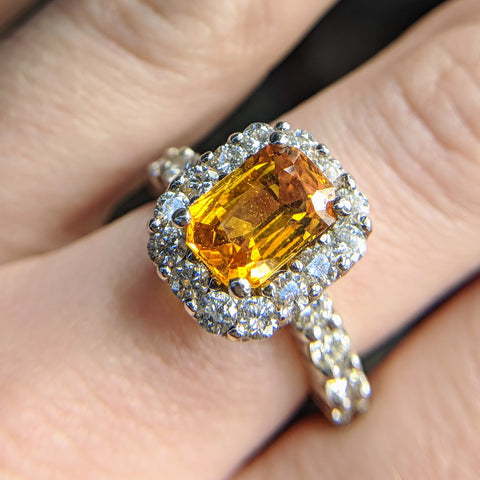 honey yellow sapphire engagement ring handmade 18k white gold radiant cut secrete fine jewelry washington dc bethesda
