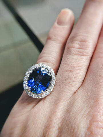 custom sapphire halo engagement ring secrete fine jewelry handmade princess diana washington dc