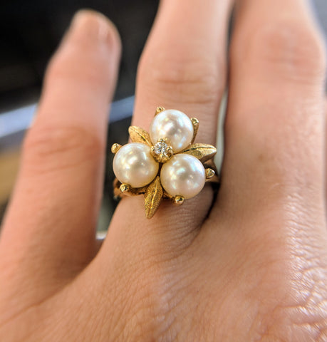 pearl engagement ring secrete fine jewelry vintage ethical custom washington dc estate antique