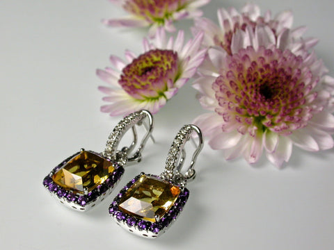 citrine amethyst diamond earrings custom jewelry washington dc