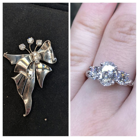 before and after resetting heirloom stones ethical engagement ring washington dc bethesda