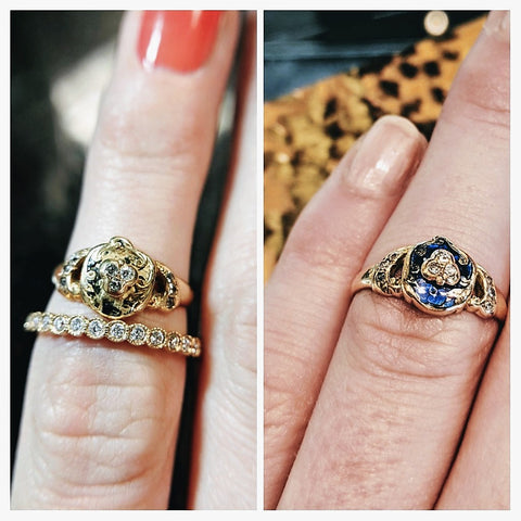 georgian engagement ring 1800s enamel diamonds restoration washington dc antique best proposal