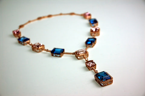 topaz, kunzite, diamond rose gold necklace fine jewelry custom handmade bethesda dc secrete