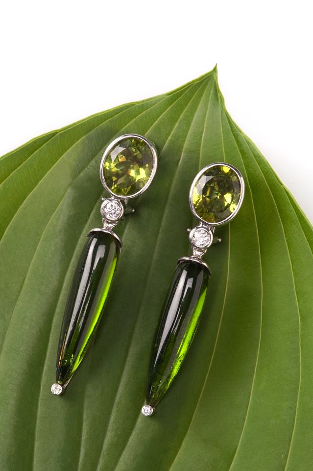 Tourmaline and Peridot Earrings