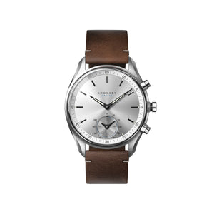 Kronaby Sekel 43mm - Silver Dial, Dark Brown Leather Strap