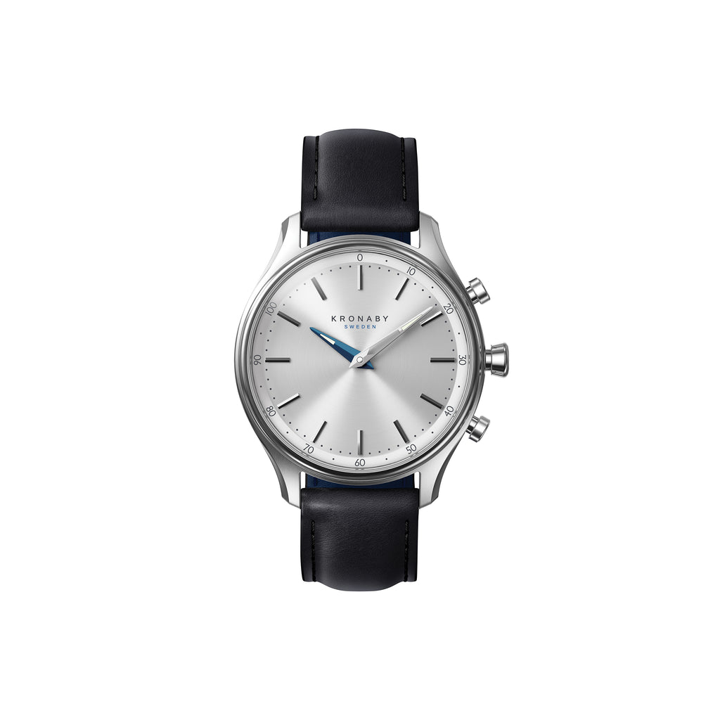 Kronaby Sekel 38mm- Silver Dial, Black Leather Strap