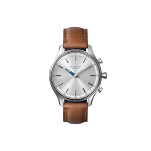 Kronaby Sekel 38mm- Silver Dial, Brown Leather Strap