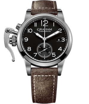 Chronofighter Classic - Black Dial, Light Brown Leather Strap