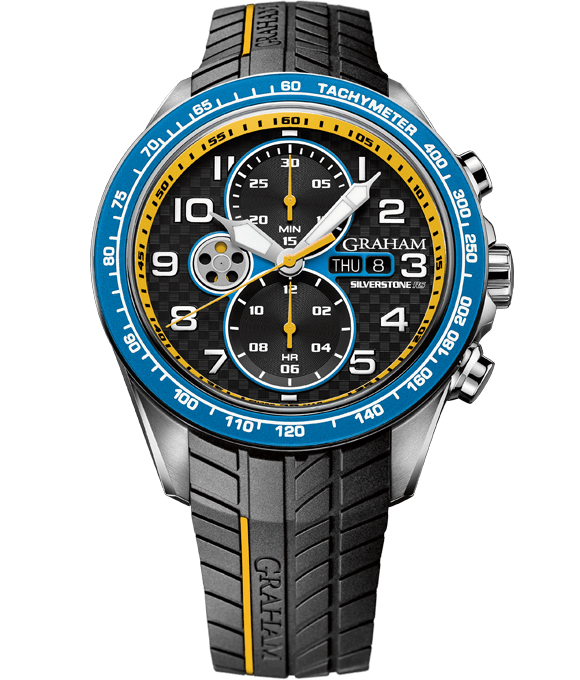 Silverstone RS Racing - Black, Yellow and Blue dial.