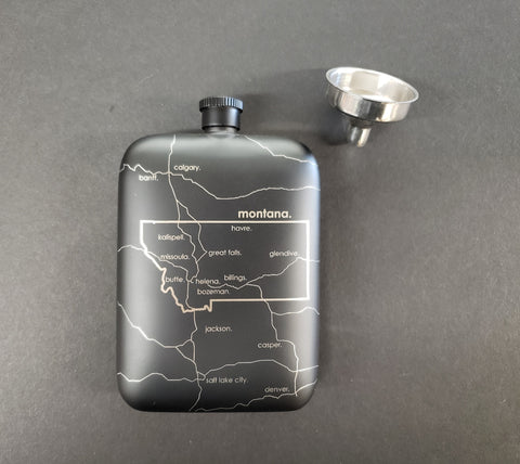 Missoula Map Pocket Flask